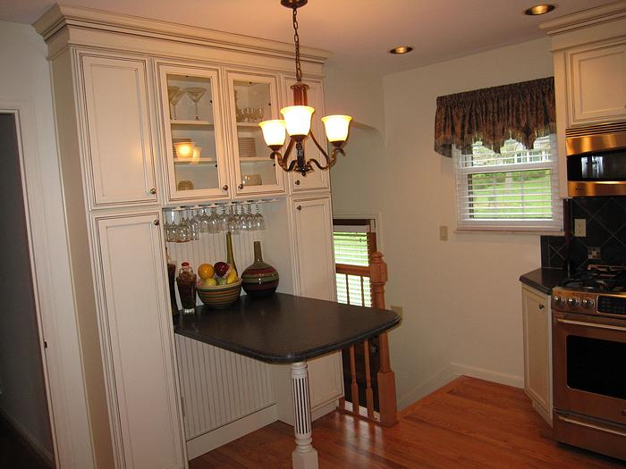 Picture of seating and storage in remodeled kitchen in College Hill, Cincinnati, Ohio